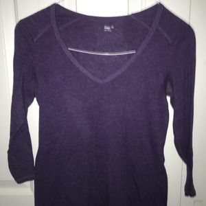 3/4 sleeve purple v neck